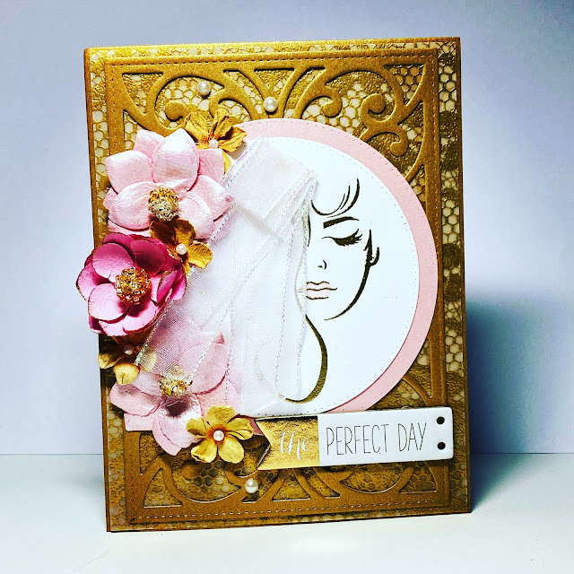 Handmade stamped Card with gold lacy background, pink flowers and a bride in the foreground made with STAMPlorations Fierce and Brave stamp set