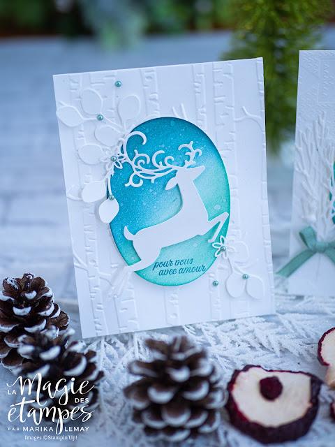 Carte de Noël de Stampin' Up! avec les découpes Renne ouvragé
