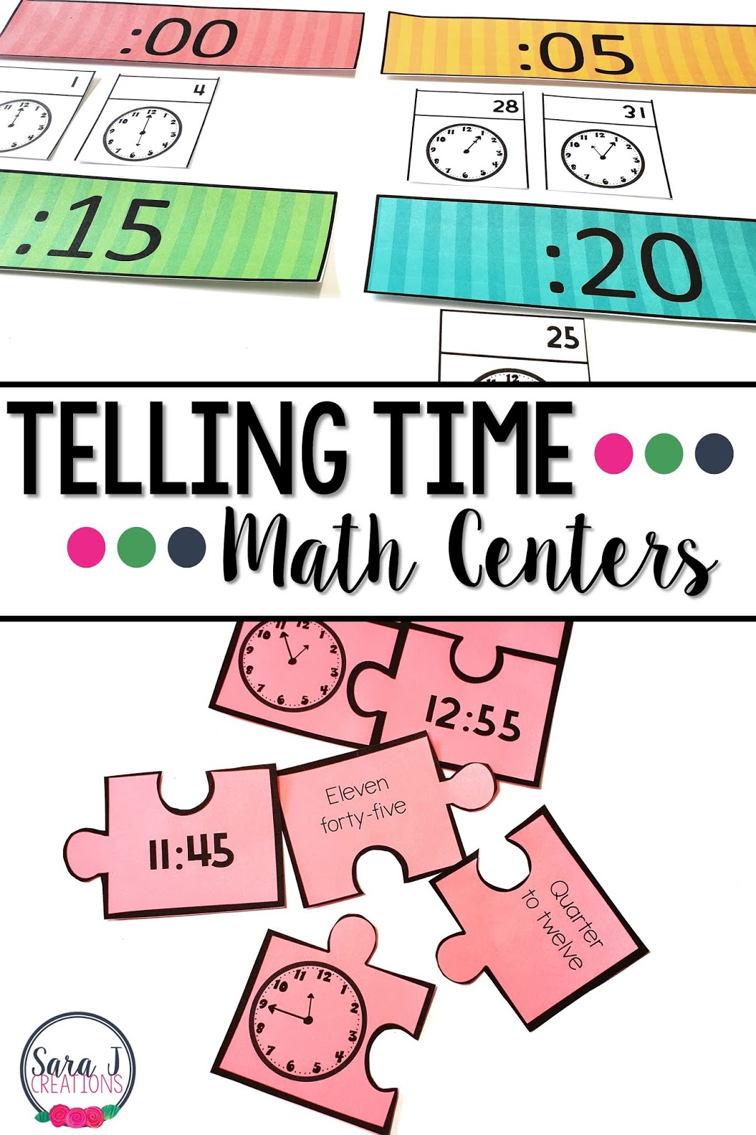 Do your students need more practice with telling time? Grab these eight telling time (to the five minutes) centers and your students will have fun while they practice! Activities like clock games, task cards, puzzles, interactive notebooks and more are all included.
