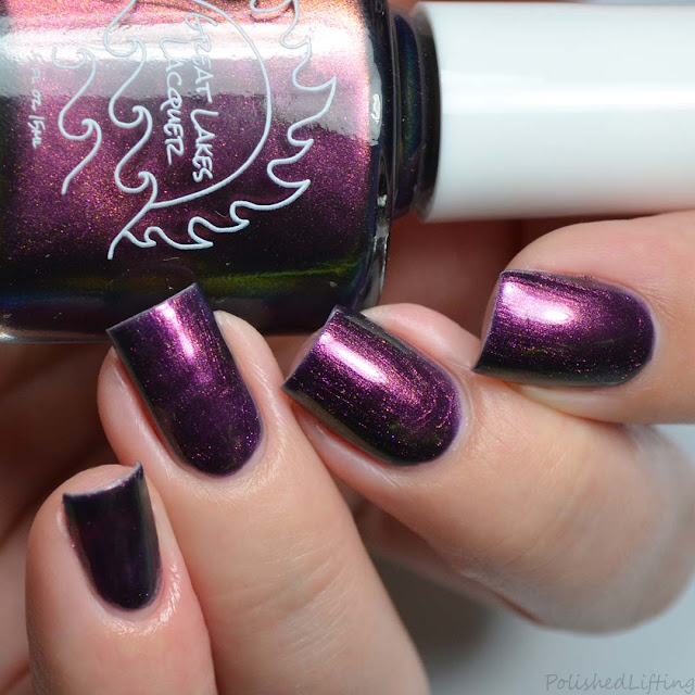 purple nail polish with rainbow shimmer