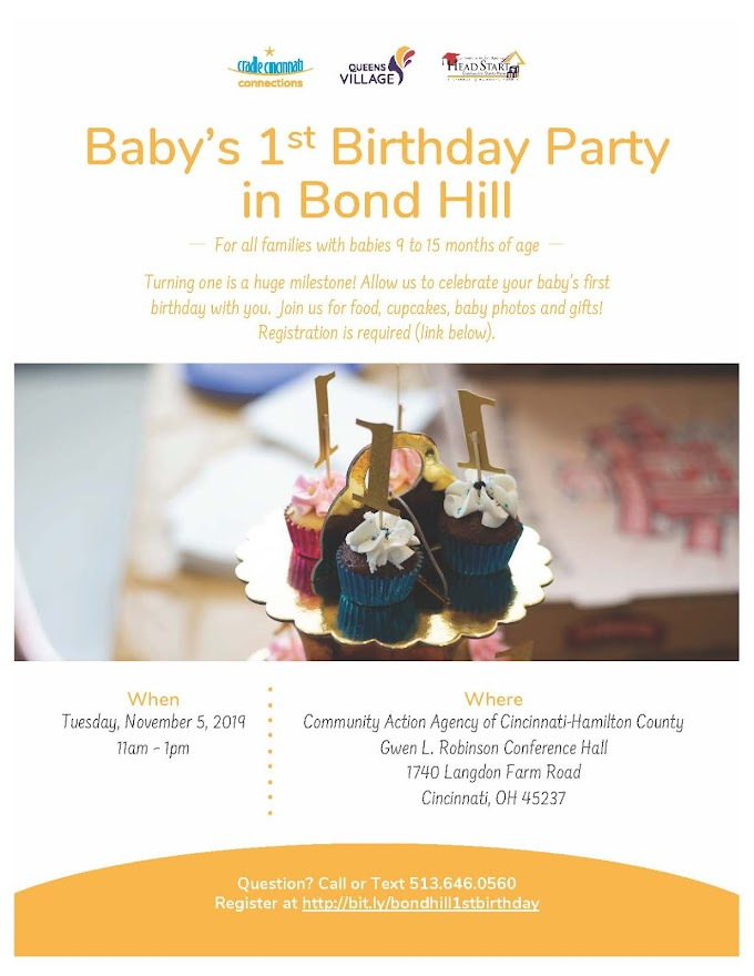 Baby's First Birthday Party in Bond Hill - Tuesday, November 5, 2019