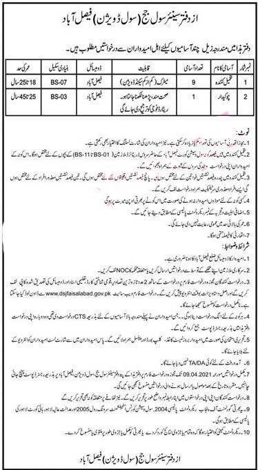 Latest Jobs in Faisalabad Senior Civil Judge Office 2021