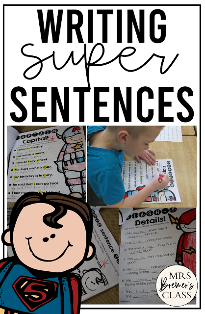 Sentence writing activity pack for practice with capital letters, punctuation, & writing complete sentences for First Grade and Second Grade