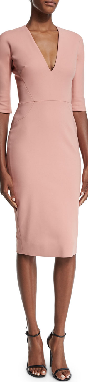 Victoria Beckham Half-Sleeve V-Neck Sheath Dress