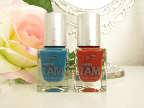 p2 Here I am Leather Matte Polish 010 explorative red und 030 novel blue