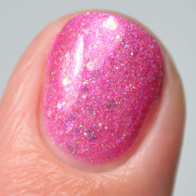 pink holographic nail polish close up swatch