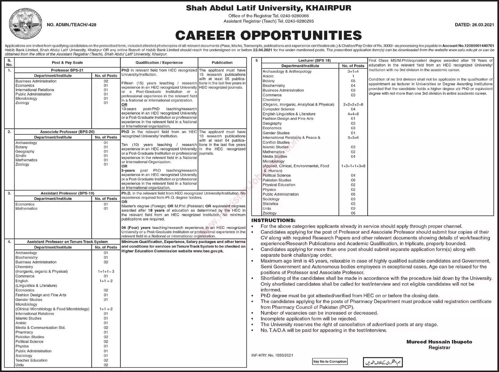 Shah Abdul Latif University Khairpur Jobs 2021   Download Application Form
