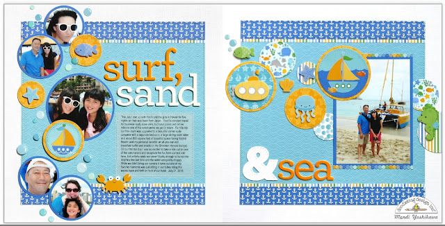 Doodlebug Design Anchors Aweigh Surf, Sand & Sea 2-page Layout by Mendi Yoshikawa