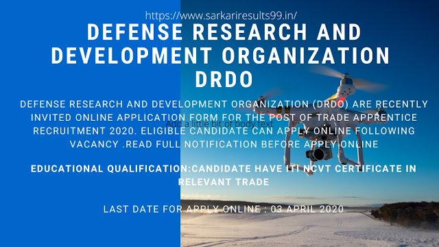 DRDO trade apprentice online form for various post 2020