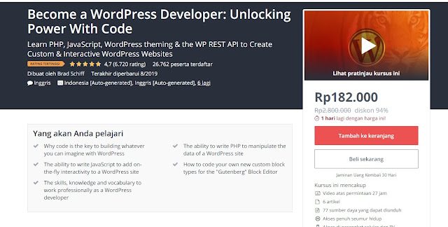 "Kelas Online ""Become a WordPress Developer : Unlocking Power with Code"""