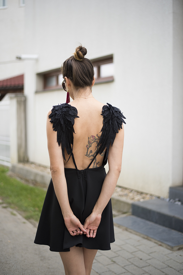 Angel Wings Black Cami Dress