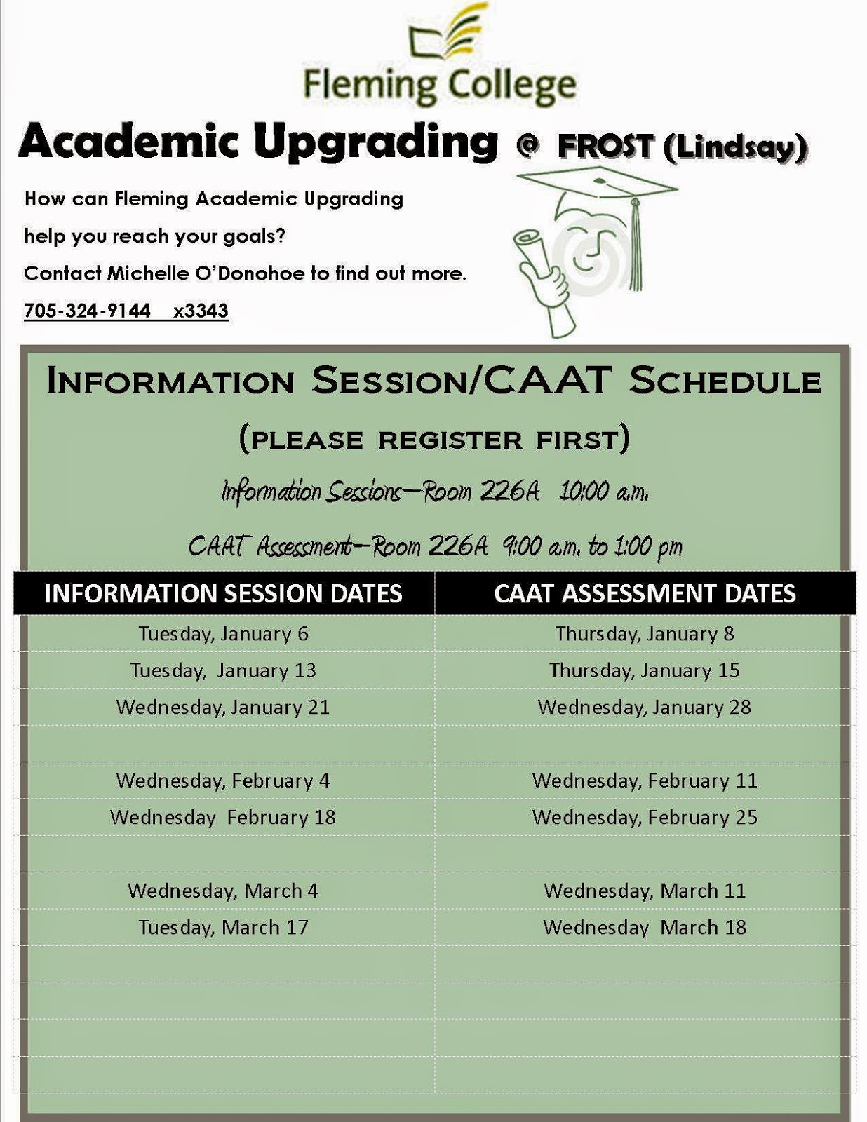 image   2015 Free Kawartha Lakes Academic Upgrading SSFC Frost Campus Info Session and CAAT Schedule