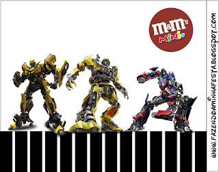 Etiqueta M&M de Transformers para imprimir gratis.