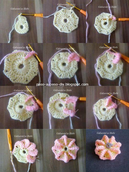 paso  a paso octogono crochet con flor en punto gusano.