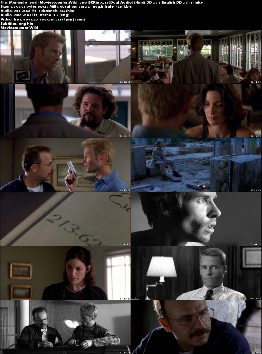 Screen Shots Memento 2000 Dual Audio HD 720p