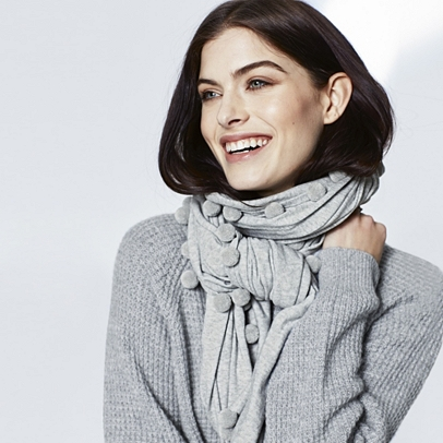 The White Company Pom Pom Knitted Scarf