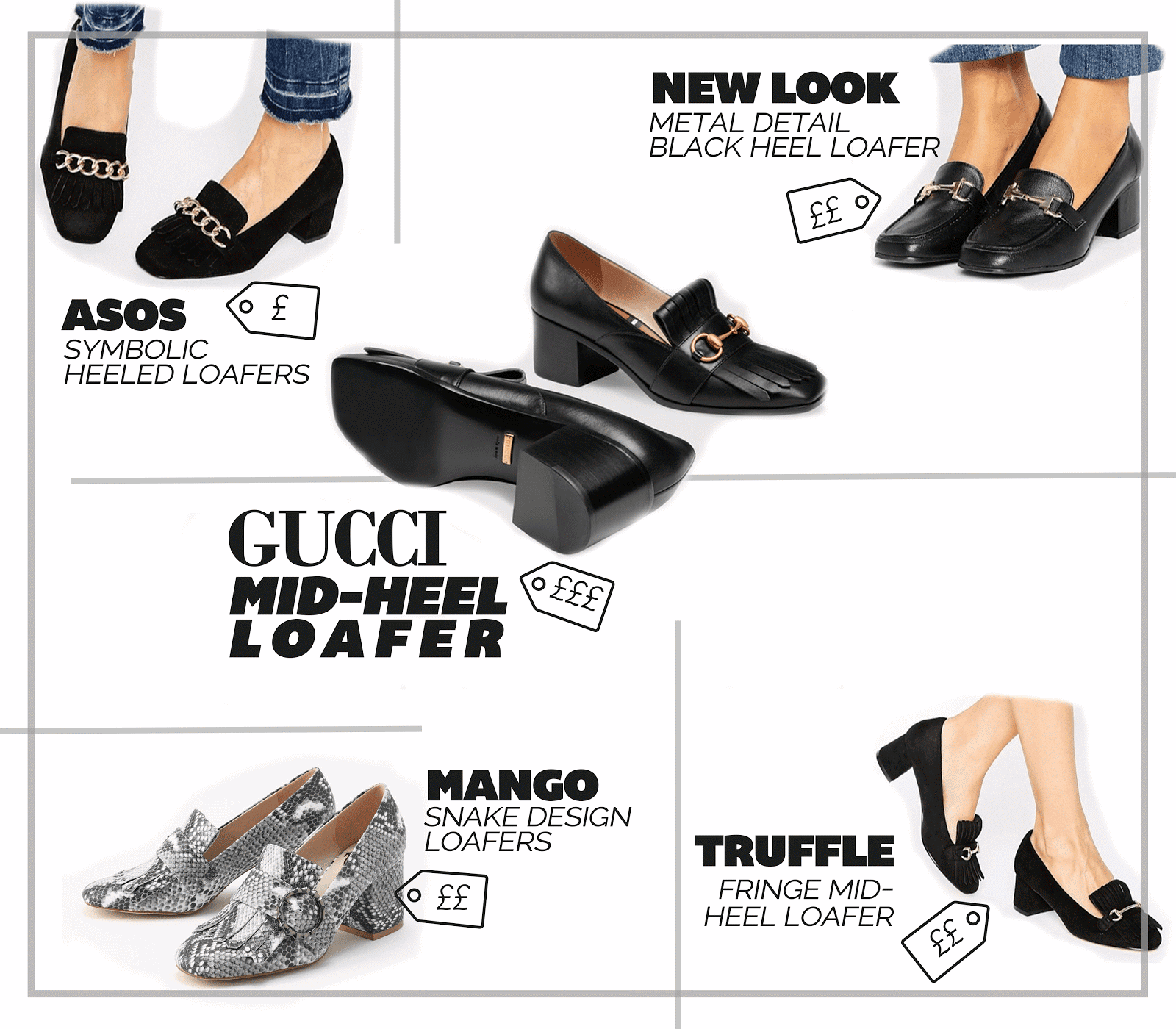 designer shoe gucci mid-heel loafer best highstreet dupes