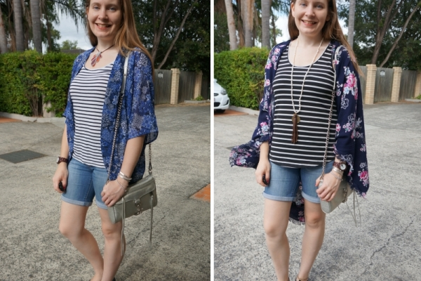 How To Print Mix With Stripes: kimonos and bermuda denim shorts | away from blue