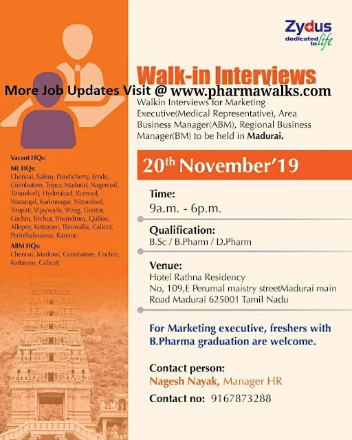 Zydus Cadila Walk-In interview for multiple positions on 20th Nov' 2019