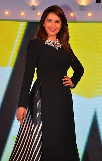 Madhuri Dixit Rocked Flared Striped Dress by Bibhu Mohapatra