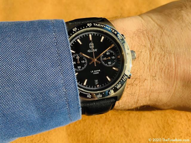 Helgray LeMans Classic Silver Chronograph wrist shot