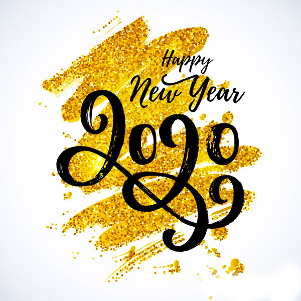 happy new year golden writing letters dp for whatsapp