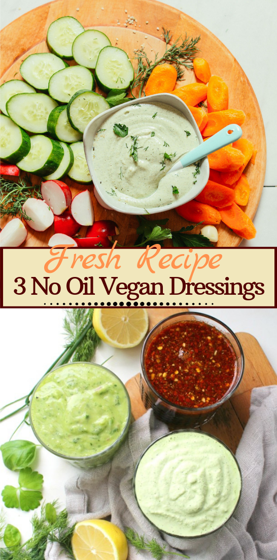 3 No Oil Vegan Dressings #vegan #vegetarian #soup #breakfast #lunch