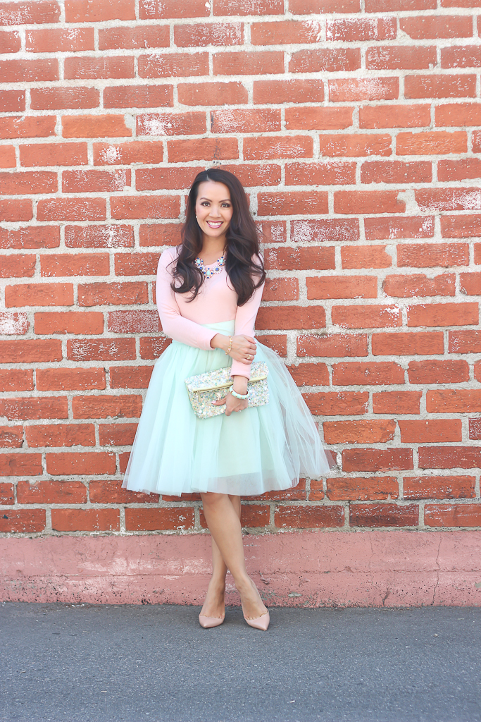 Shabby Apple mint tulle bloom skirt blush long sleeve tee Zara sequin clutch nude pigalle louboutin pumps