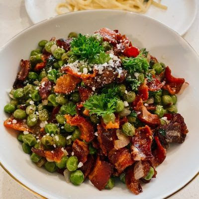 Peas with Shallots and Bacon