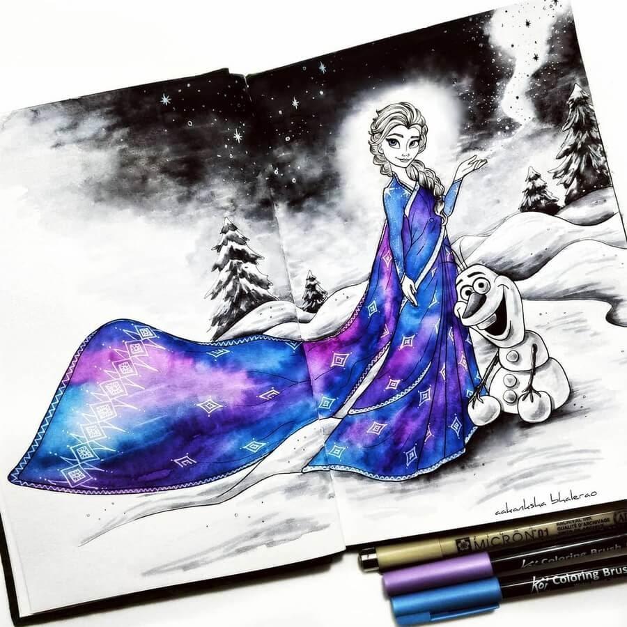 07-Elsa-and-Olaf-Frozen-Aakanksha-Bhalerao-www-designstack-co