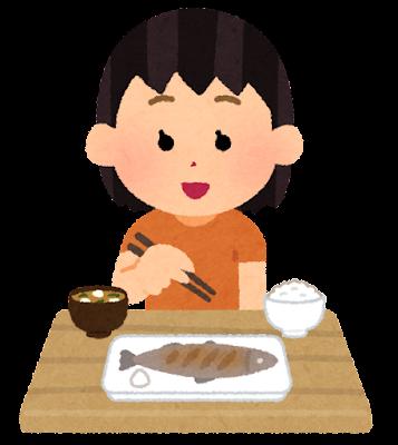 魚を食べる人のイラスト(女の子)