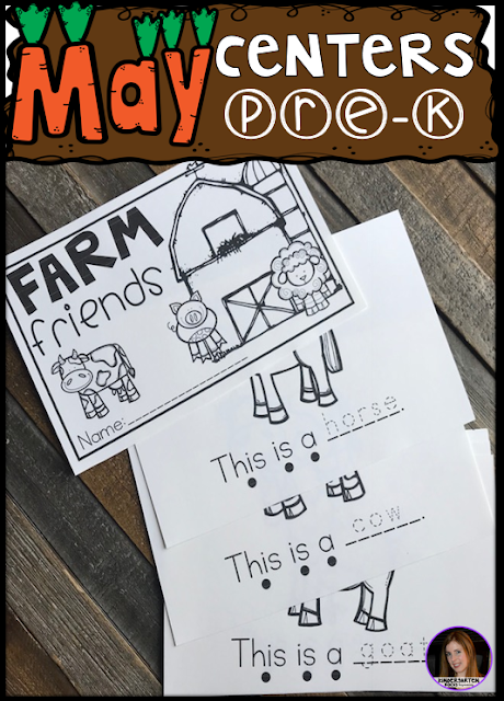Are you looking for fun hands on centers for your pond, insects and spring themed activities? The Preschool End of the Year Spring Centers for May is sure to keep their interest and will help build important literacy, math and writing (fine-motor) skills. Like this Farm Friends tracing reader.