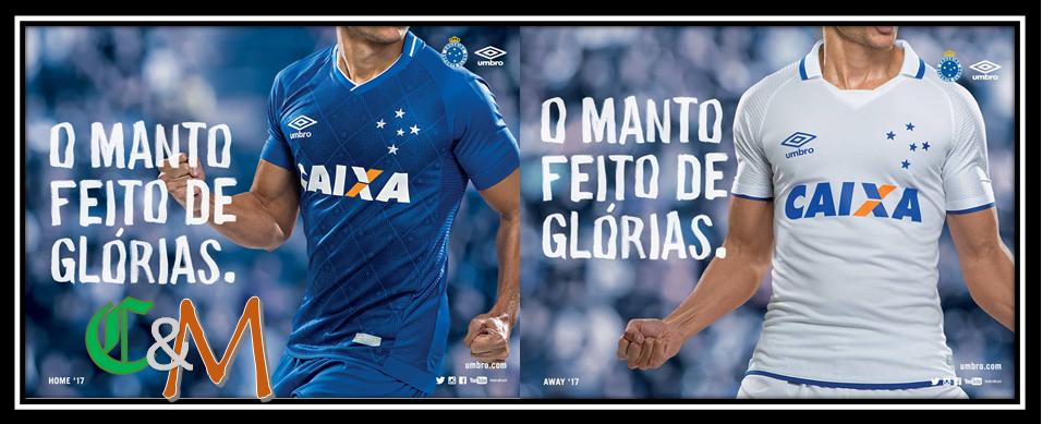 85549bb70d A Umbro e o Cruzeiro lançaram neste último domingo (25) seu novo conjunto  de uniformes da equipe para 2017 18. O novo manto celeste foi exposto em  uma ...