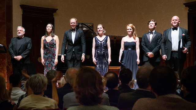 Sir Simon Russell Beale, Somi Kim, Joseph Middleton, Anna Stephany, Claire Lees, Dominic Sedgwick, Nicky Spence - Samling Artist Showcase 2019, Wigmore Hall (Photo Roger Way)