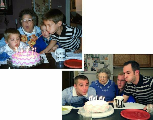 Watch Brothers Recreate their Childhood Photos as Christmas gift for Mom via geniushowto.blogspot.com recreating the epic scene of Macmillan brothers birthday party