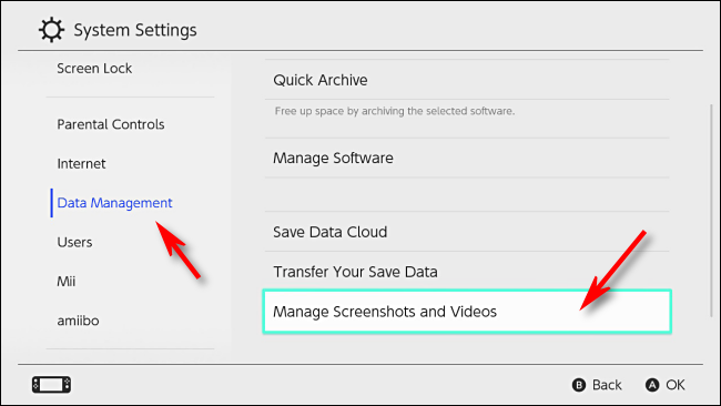 Selec إدارة لقطات الشاشة والفيديو في إعدادات Nintendo Switch