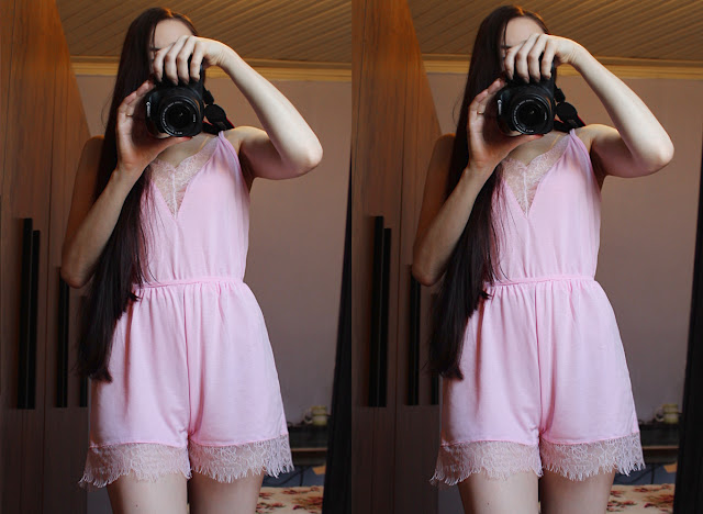 how to wear pink lace sweet romper onesie jumpsuit buy online fashion blog