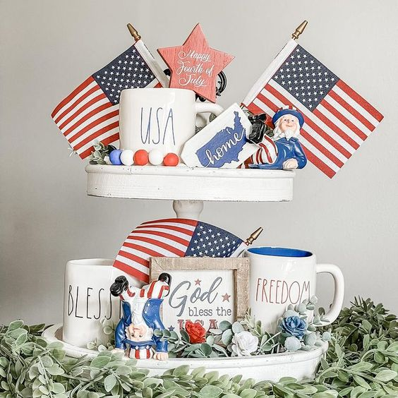 Farmhouse style tiered tray for 4th of July with American flags