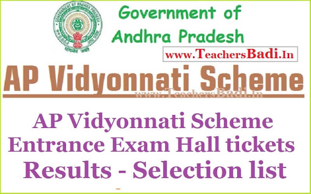 AP Vidyonnati Scheme,Entrance Exam,Hall tickets,Results,Selection list 2016