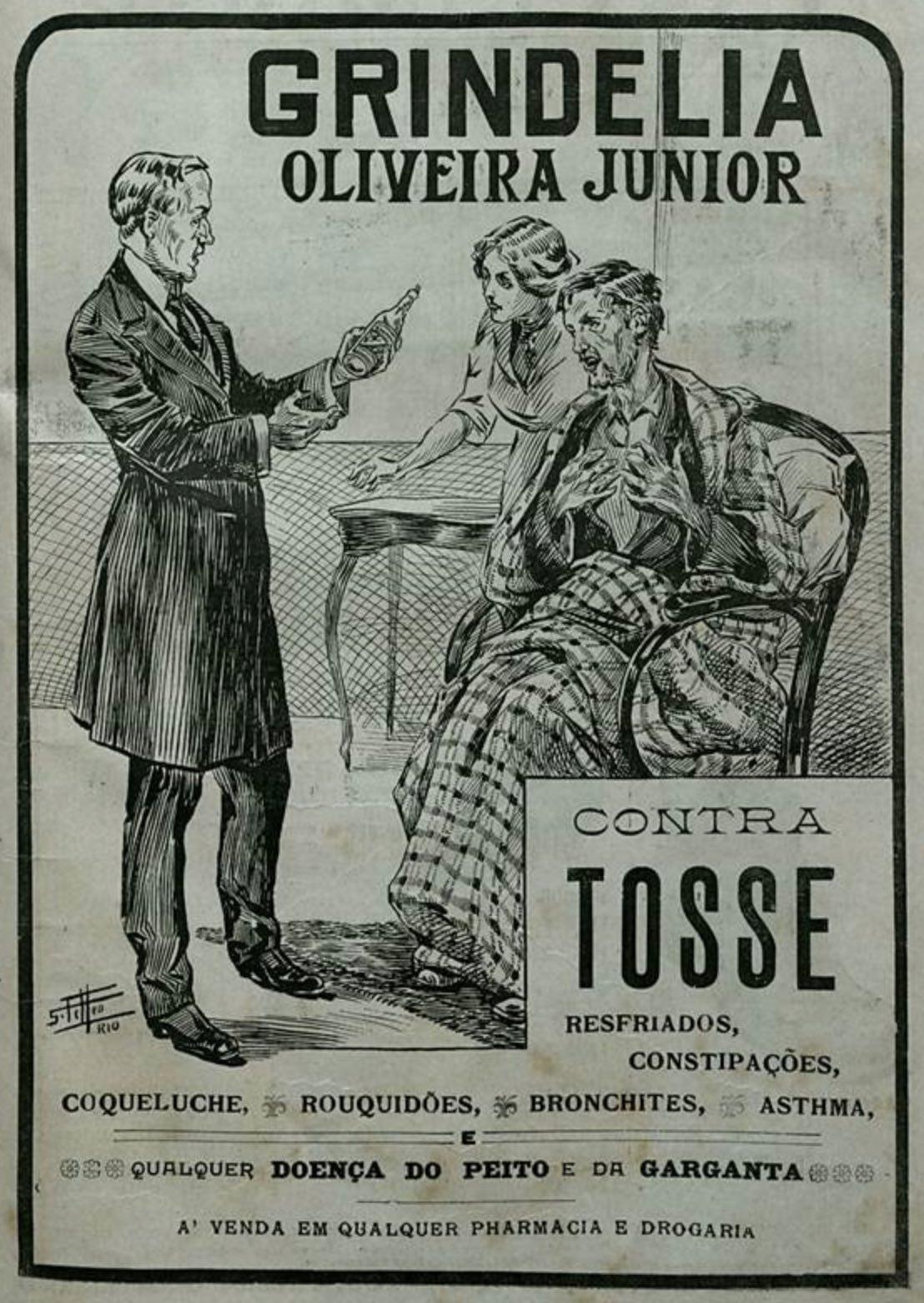 Propaganda antiga de medicamento para cura de doenças pulmonares em 1917