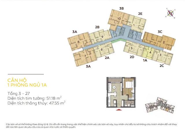 căn hộ 1 phòng ngủ tháp Bora Bora dự án căn hộ Đảo Kim Cương