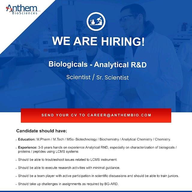 Anthem Biosciences | Hiring Scientists/Sr.Scientists - AR&D | Send CV