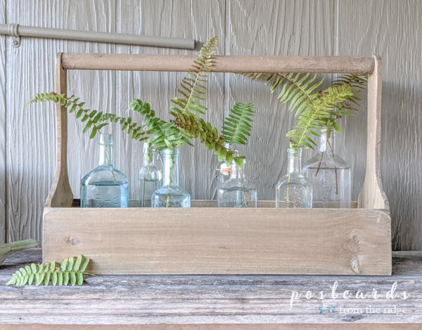 vintage glass bottles in wooden tool caddy with fern branches