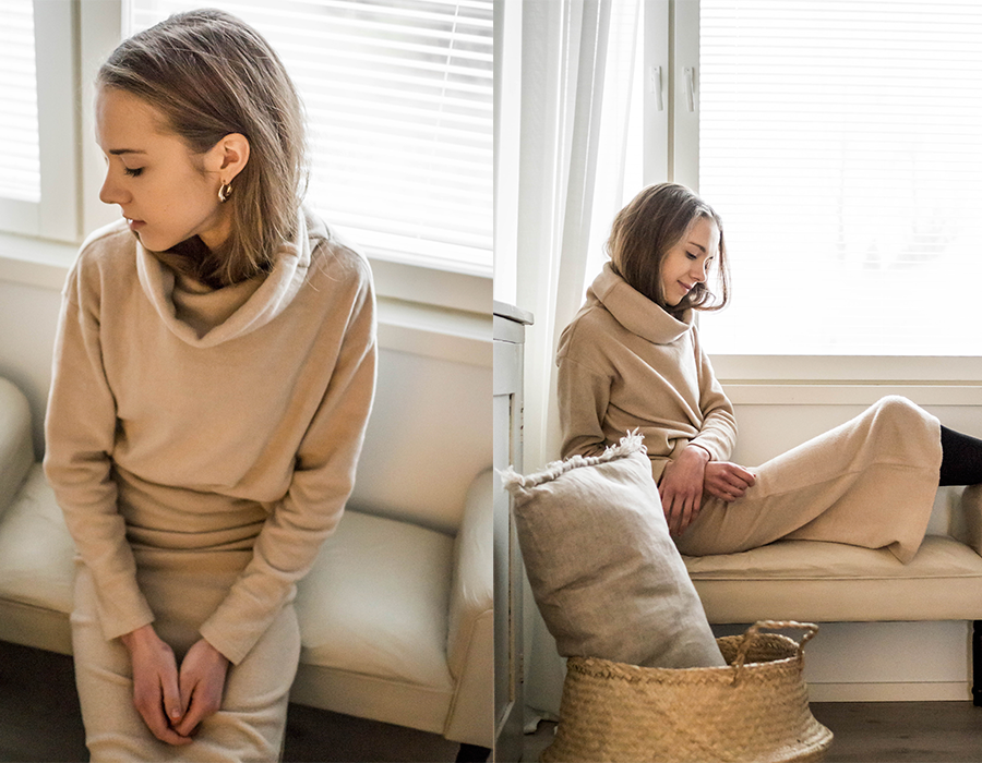 Beige neule ja hame, Bubbleroom // Beige sweater and knitted skirt