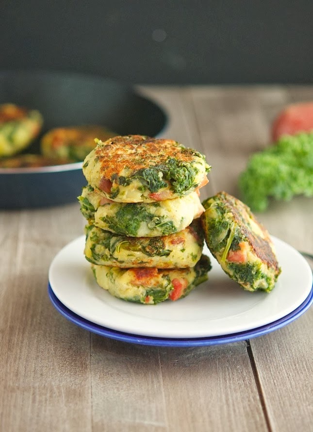 Bacon, Mashed Potato and Kale Cakes