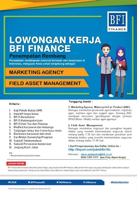 Lowongan Kerja Marketing Agency Dan Field Asset Management PT BFI Finance Indonesia Cabang Rembang