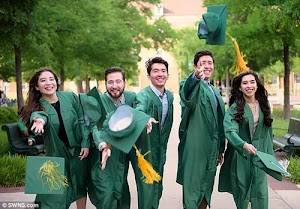 Proud Father Giggling Joyously As His Quintuplets Graduates From University Same Day (Photos)