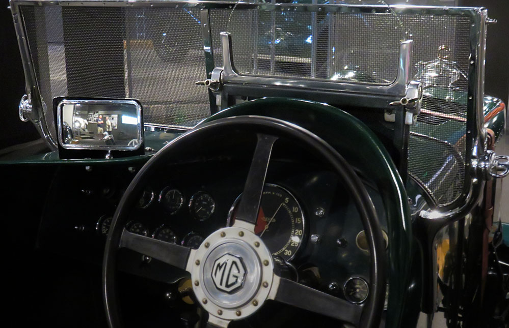 Cockpit of antique racing car.