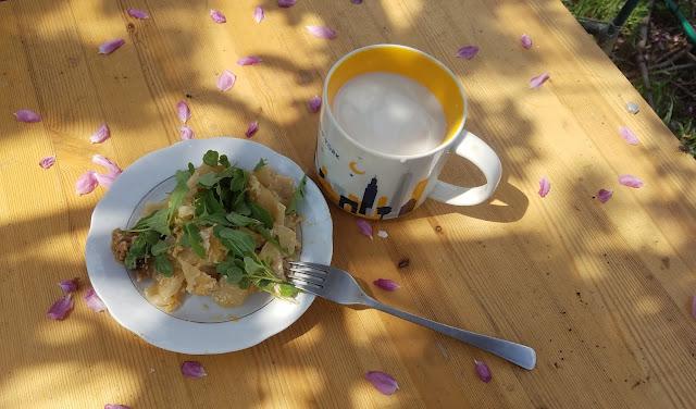 мой обед под цветущей ранеткой