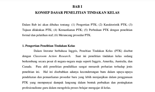 Panduan Lengkap PTK (Penelitian Tindakan Kelas) Format PDF